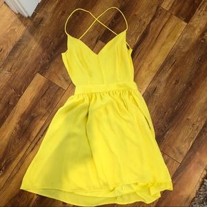 Yellow backless spaghetti strap dress 💛